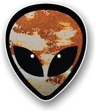 Funny Alien Head Motif & rouille Rusty METAL PATINE Vinyle Autocollant Voiture Décalque 95x80mm