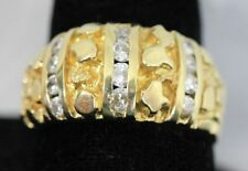 "Custom 14k GOLD ""Cast Nugget"" Diamond Ring - Size 10.25 - 8.3 Grams ~.35 TDW"