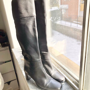SESTO MEUCCI Knee High Chunky Heel Boots Leather Black Womens Size 6M
