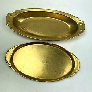 Vintage Pickard Gold Serving Trays Rose Daisy Pattern Platter 418 457 Oval Lot 2