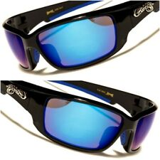 Motorcycle Biker Cycling Black Blue Mirrored Lens Rectangle Sport Sunglasses