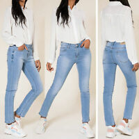 Ladies Faded Blue Denim Straight Leg Jeans size 6 8 10 12 14 16