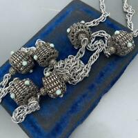 VTG Victorian revival Silver Plated Filigree Turquoise Ball Beaded Necklace