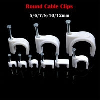 ROUND COAX CABLE CLIPS BLACK /& WHITE 4 5 6 7 8 10 12MM FIXING NAIL BULK PACK 100