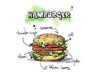 ART PRINT POSTER PAINTING DRAWING TASTY FOOD RECIPE HAMBURGER LFMP1127