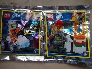 2 NEW LEGO CITY LTD ED MINIFIG FOIL PACKS ASTRONAUT MOON BUGGY FIREMAN FIRE MITB