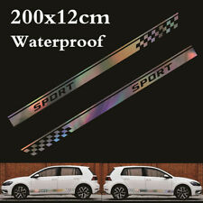 2Pcs Car Side Body Sticker Colorful Laser Reflective Graphics Long Stripe Decal