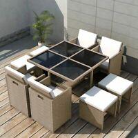 vidaXL Outdoor Dinning Set 21 Piece Poly Rattan Wicker Patio Garden Furniture