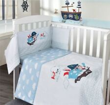 Baby Nursery Cot 3Pc Quilt,Bumper & fitted sheet Bedding Bale Set Pirate Ship