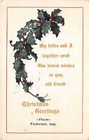 Indiana In Postcard 1916 FAIRVIEW Christmas Greetings Holly