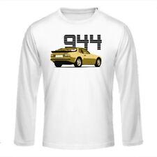 """Longsleeve Shirt """"Porsche 944"""", beige auf weiß / dreifarbiger Print, vorne"""