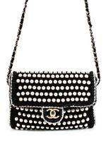 Chanel 2018 Edición Limitada Ganchillo aleta de Perlas de Imitación Hombro Bolso de mano negro
