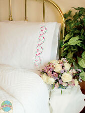 Embroidery Kit ~ Dimenisons Set of 2 Pink Rose Hearts PILLOWCASES #73201