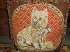 "Luxury Designer West Highland ""Westie"" Dog Tapestry CUSTOM Embellished Pillow"