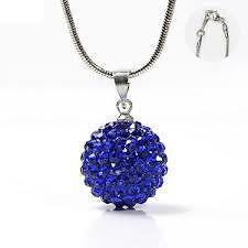 Collier pendentif boule Shamballa DISCO cristal BLEU FONCE 10 mm  + chaine 45 CM
