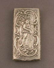 Antique European Continental .800 Silver Repousse Hinged Match Box w/Boy Motif