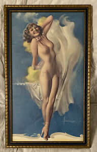 The Dancer Rolf Armstrong Vtg Color Lithograph Pin Up Print Risque 13X21 Framed