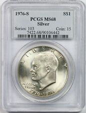1976-S Silver $1 PCGS MS 68 Eisenhower IKE Silver Dollar