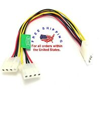 6 Inch 4-pin Molex Male to 2x Female Power Y-Splitter Cable IDE Extension Cable