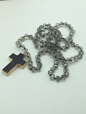 M-Knotted Tribal Glass Crystal Stone Cross Pendant Necklace Woman Jewelry