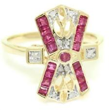 Real Ruby & 10 Diamond 9k 9ct 375 Solid Gold Antique Style Ring Natural Genuine