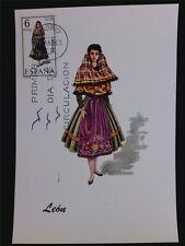 SPANIEN MK 1969 TRACHTEN LEON COSTUMES MAXIMUMKARTE MAXIMUM CARD MC CM c5556