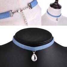 Women Water Drop Pendant Blue Denim Choker Collar Necklace Girls Jewelry Gift