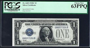 """""""KEY NOTE"""" 1928C $1  FR-1603  ♚♚SILVER CERTIFICATE♚♚ PCGS CHOICE NEW 63 PPQ"""