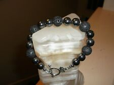 "MEN'S HANDMADE 9"" 12 MM BLACK HEMATITE & LAVA ROCK BEAD BRACELET"