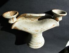 Hand crafted ceramic candle holder -beige & rust color-6 3/4