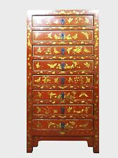 A Chinese Red Lacquer Narrow Storage / Document Storage Cabinet Chest 8 Drawers