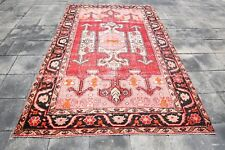 """Turkish Red Vintage Rugs 5'2""""x8'0"""" Knotted Rugs Handmade Rugs Ethnic Rug 1592"""