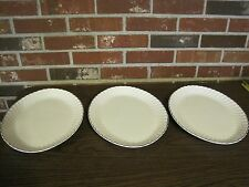 3 VINTAGE OVAL WHITE USA PLATTERS WITH SILVER TRIM