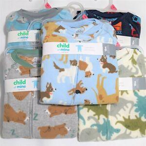 Carters Boys Fleece Pajama Sleepers 18m 24m 2t 3t Sloths Dinosaurs Trucks