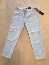 NWT NYDJ Not Your Daughters Jeans PLCRY ANKLE Blue Printed Denim $110 Size 10P
