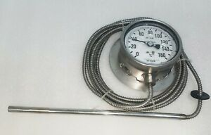 WIKA TEMPERATURE GAUGE WITH CAPILARY 0 TO - 160C / DIAL SIZE 100 MM