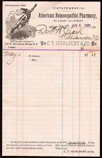 1896 American Homeopathic Pharmacy - C T Hurlburt & Co - New York - Letter Head