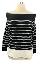 INC Int'l Concepts 1X black striped long sleeve off the shoulder sweater 2fer