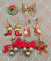 Vintage Christmas Festive 6 Piece Enamel Earrings Brooch 1Loose Earring  #290