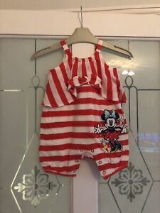 Baby Girls Disney Store Red Striped Minnie Mouse Playsuit Age 3-6 Months vgc