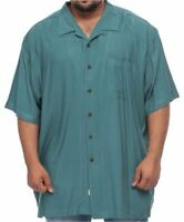 Island Outfitters Big & Tall Teal Blue 100% Rayon Short Sleeve Shirt for Men