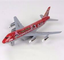 "Toy Airplane Turbo Jet Diecast Metal Happy Holidays - Red - 7.5"" L New"
