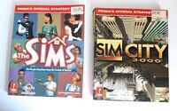 Sim City 3000 1998 & The Sims 2000 Prima's Official Strategy Guide lot 2 books