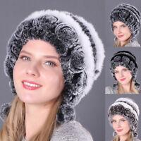 Women Rabbit Fur Hats Winter Warm Fur Head Wrap Knitted Beanie Hat Multicolor