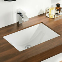 DeerValley White Ceramic Rectangle Undermount Bathroom Sink with Overflow