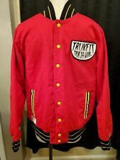 COOL!! TrukFit Jacket L Red with Black/Yellow Trim Quilted Lining Snap Front