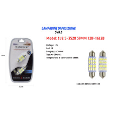 LAMPADINE DI POSIZIONE 12V 16LED 39MM LAMPADINE ULTRA LUMINOSE MAXTECH SV8.5-352