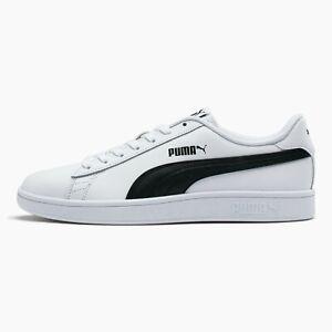 NIB Men's Puma Smash V2 White Black Leather Shoes Sneakers Size 10, 10.5, 11