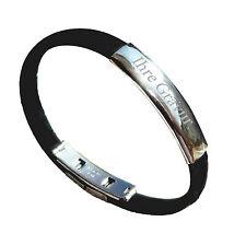 Edelstahl Kautschuk Armband Armreif  Armkette mit Gravurplatte incl. Gravur