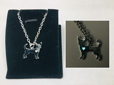 DISCOUNT - CHIHUAHUA Love GLOW IN THE DARK Heart Dog Silver Pendant Necklace